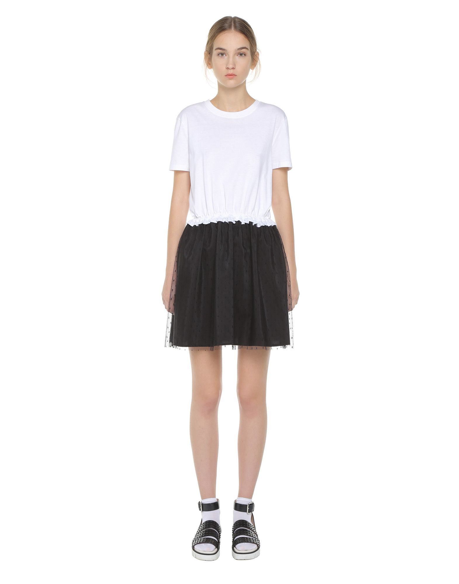 f3255ffebf26 REDValentino Jersey T Shirt Dress With Point D'esprit Tulle - Jersey Dress  for Women | REDValentino E-Store