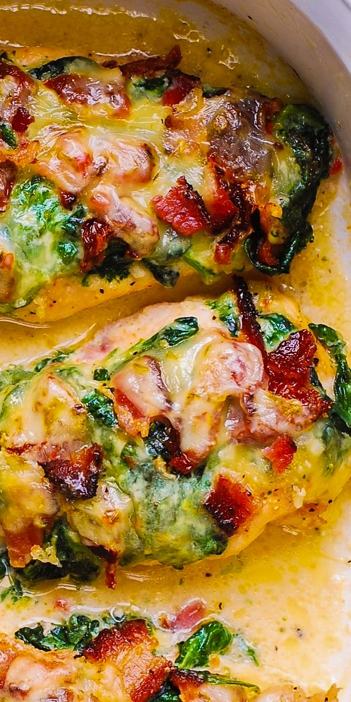 Creamed Spinach and Bacon Chicken Bake