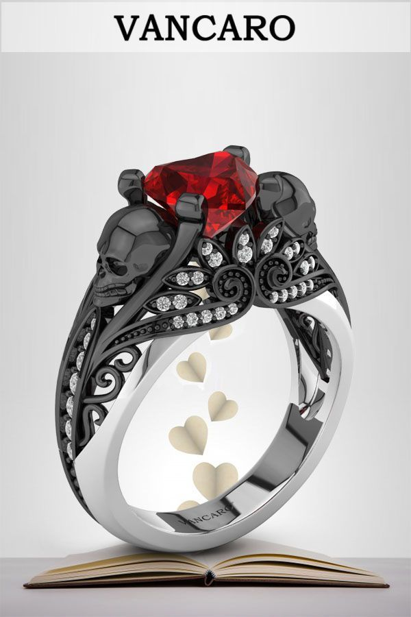 Vancaro Skull With Lotus Ruby Heart Two Tone Fashion Ring Skull