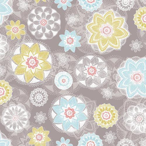 Tkanina Prairie Koronkowe Kwiaty Na Szarym 1fq Hand Drawn Fabric Spirograph Surface Pattern Design