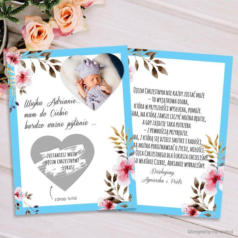 Zostaniesz Rodzicem Chrzestnym Ramka Blekitna Z Kwiatami Kartka Zdrapka Paper Crafts Valentine Crafts