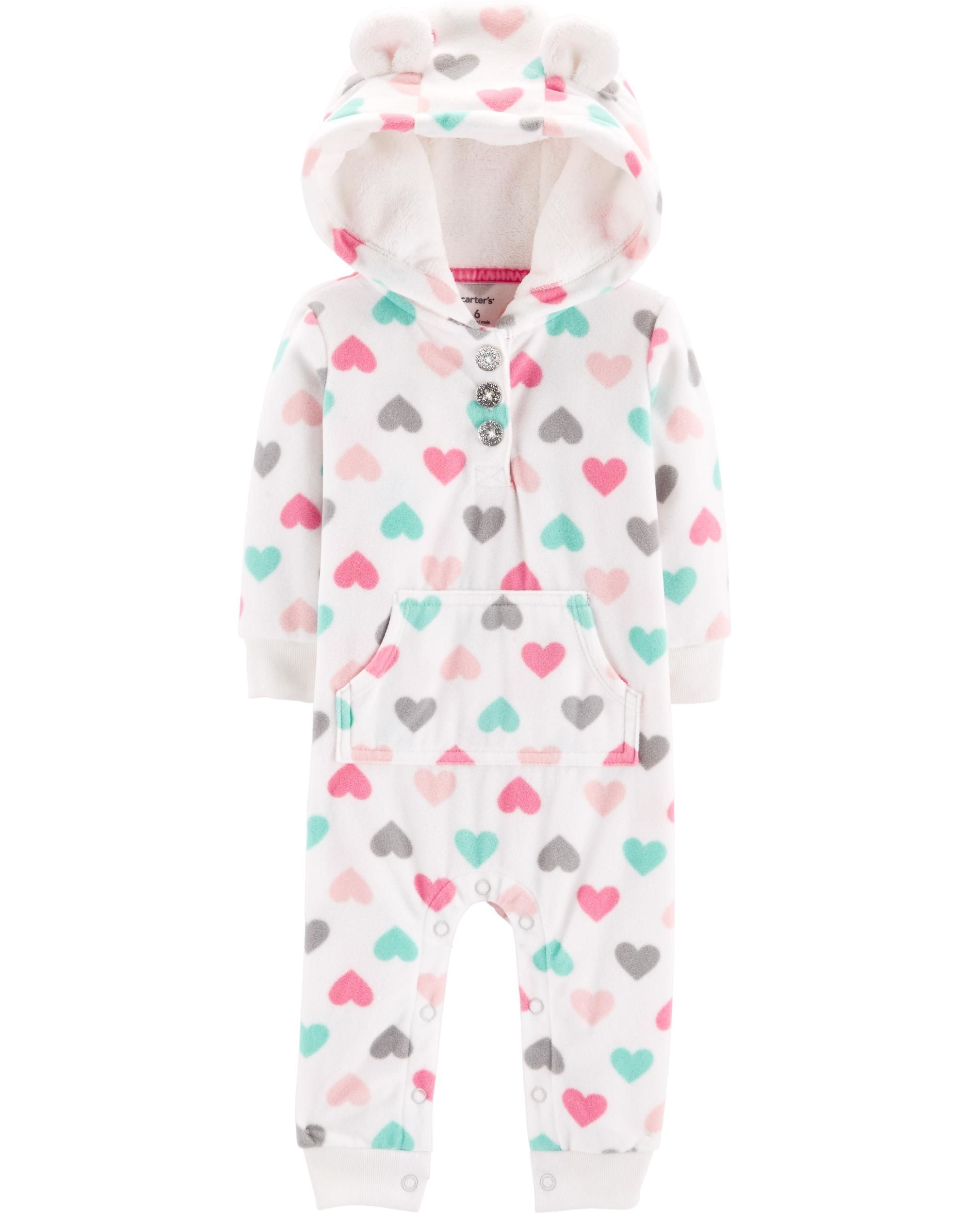 a2cda3f54 Heart Hooded Fleece Jumpsuit