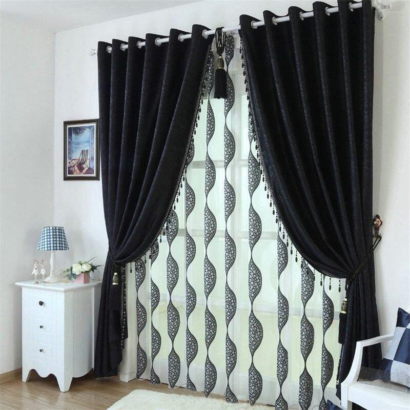 noir beaut personnalis blackout rideaux pour salon haute qualit tissu moderne rideau pour. Black Bedroom Furniture Sets. Home Design Ideas