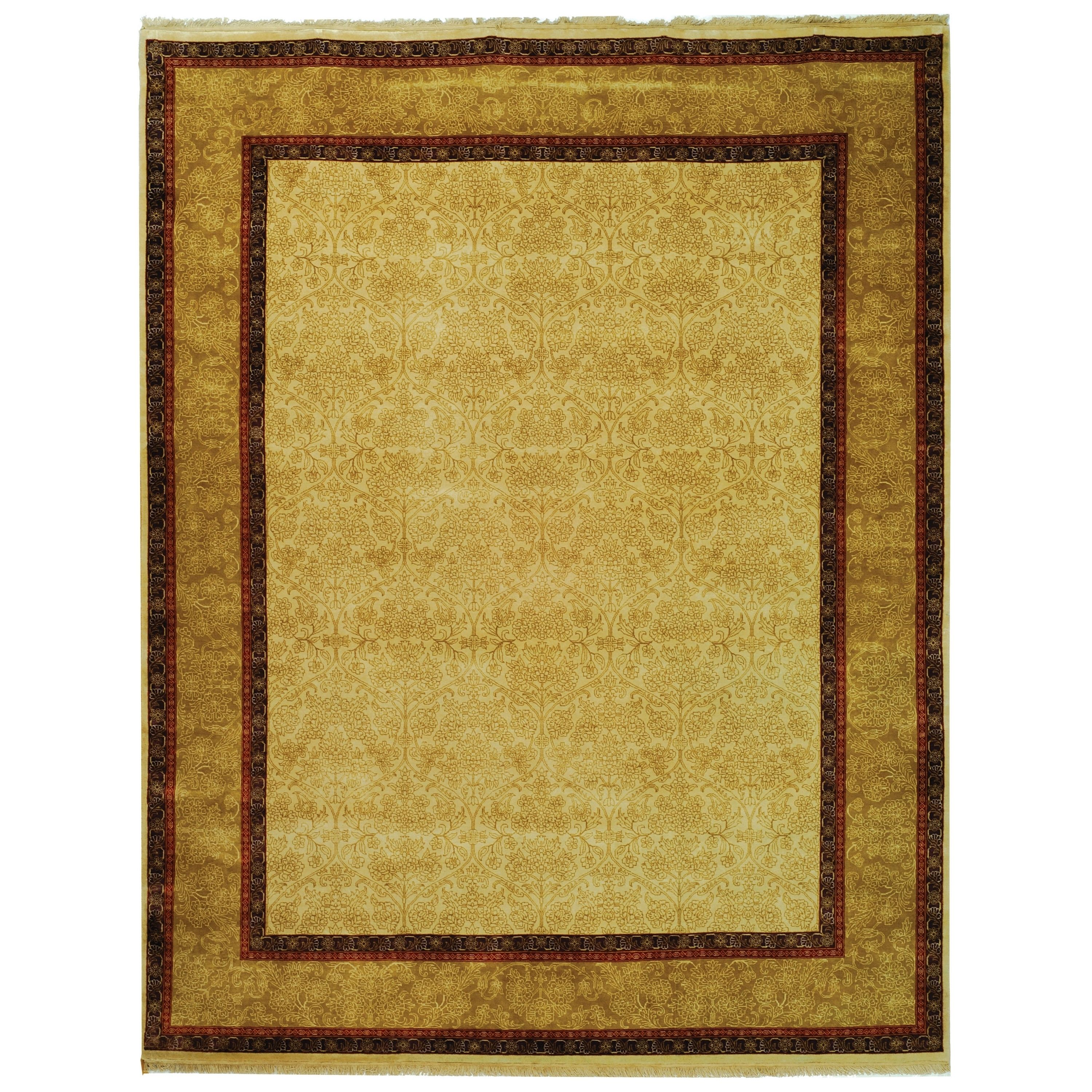 Safavieh Hand Knotted Ganges River Ivory Gold Wool Rug 9 X 12 Dining Room