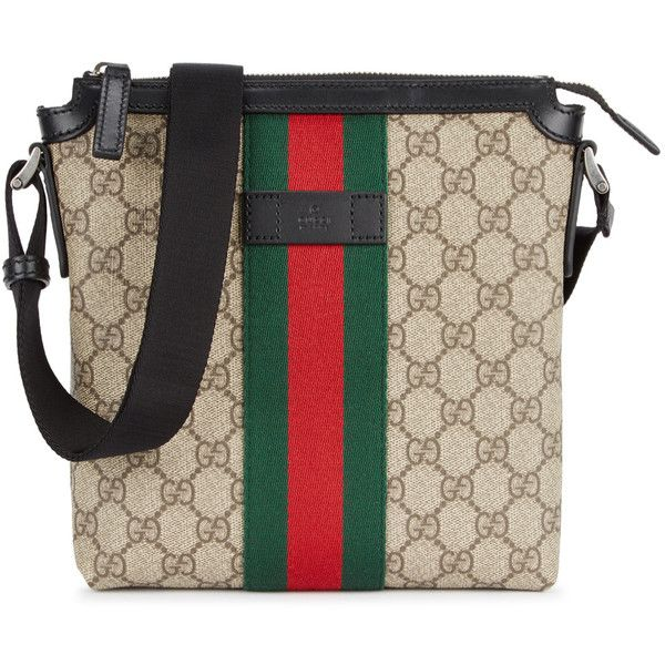 0b0f59ba1c9490 Gucci GG Supreme Canvas Cross-body Bag ($610) ❤ liked on Polyvore featuring  bags, handbags, shoulder bags, brown crossbody, canvas crossbody, gucci ...