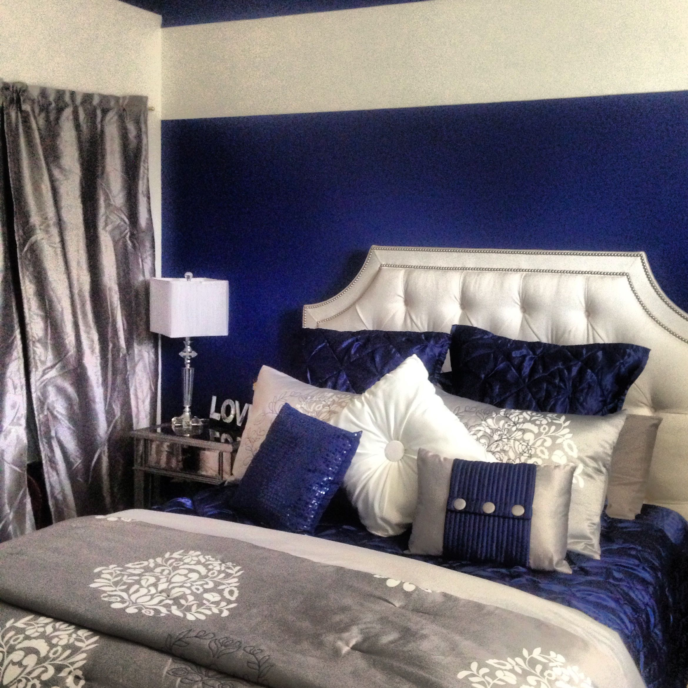 Royal Blue  silver  white   grey  I m completely obsessed   in love with MY  bedroom  Bed is custom made from Ethan Allen  bed set is entirely Daisy  Fuentes. Royal Blue  silver  white   grey  I m completely obsessed   in