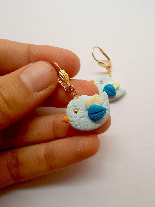 Cercei placaţi cu aur Blue Birds