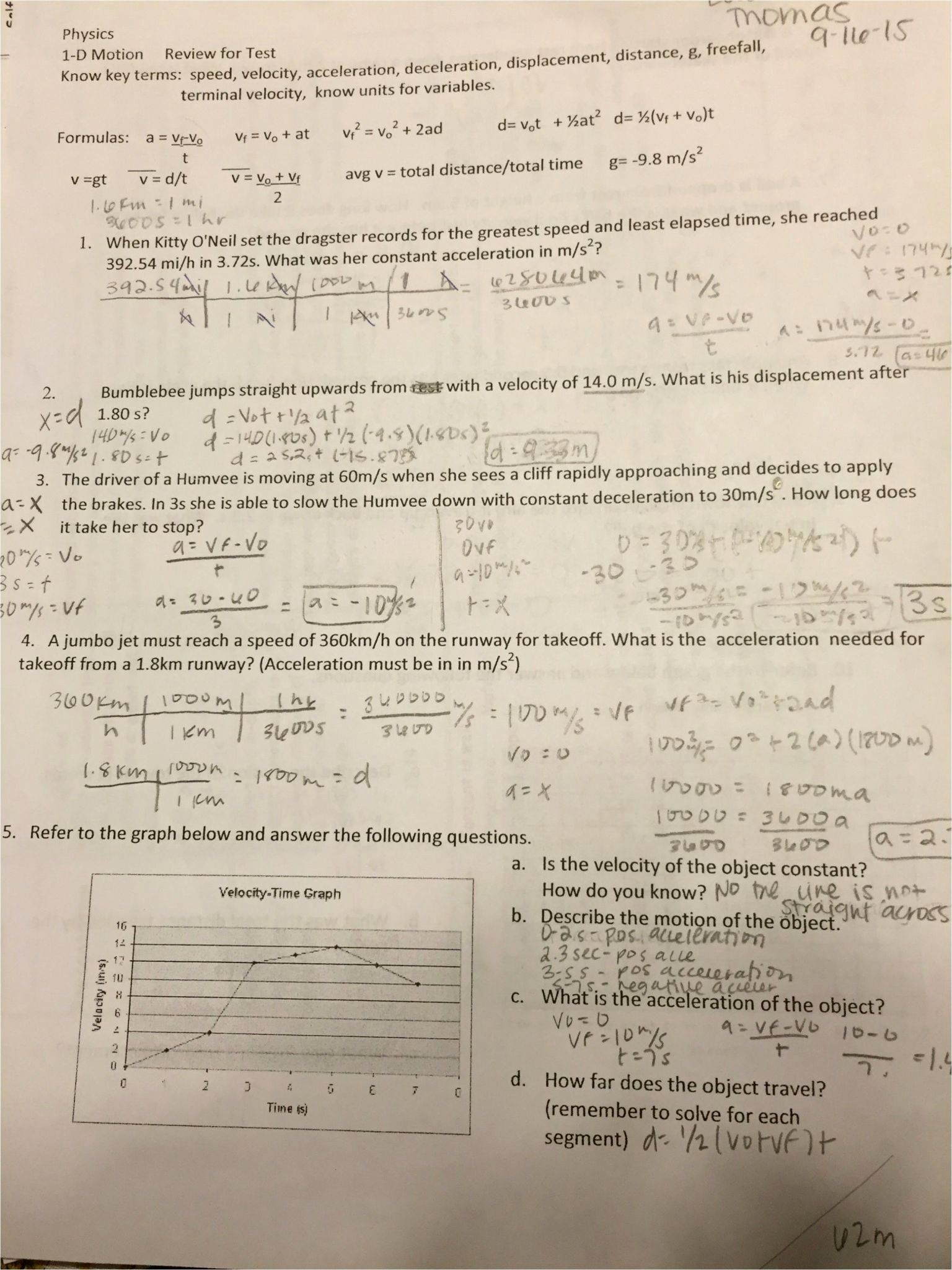 10+ Free fall problems worksheet answers Online