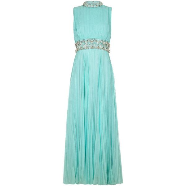Pre-owned 1960s Cerdley Turquoise Pleated Chiffon Beaded Gown (2.307.065 COP) ❤ liked on Polyvore featuring dresses, gowns, evening dresses, blue sequin gown, vintage beaded dress, vintage sequin dress, blue ball gown and sequin gown