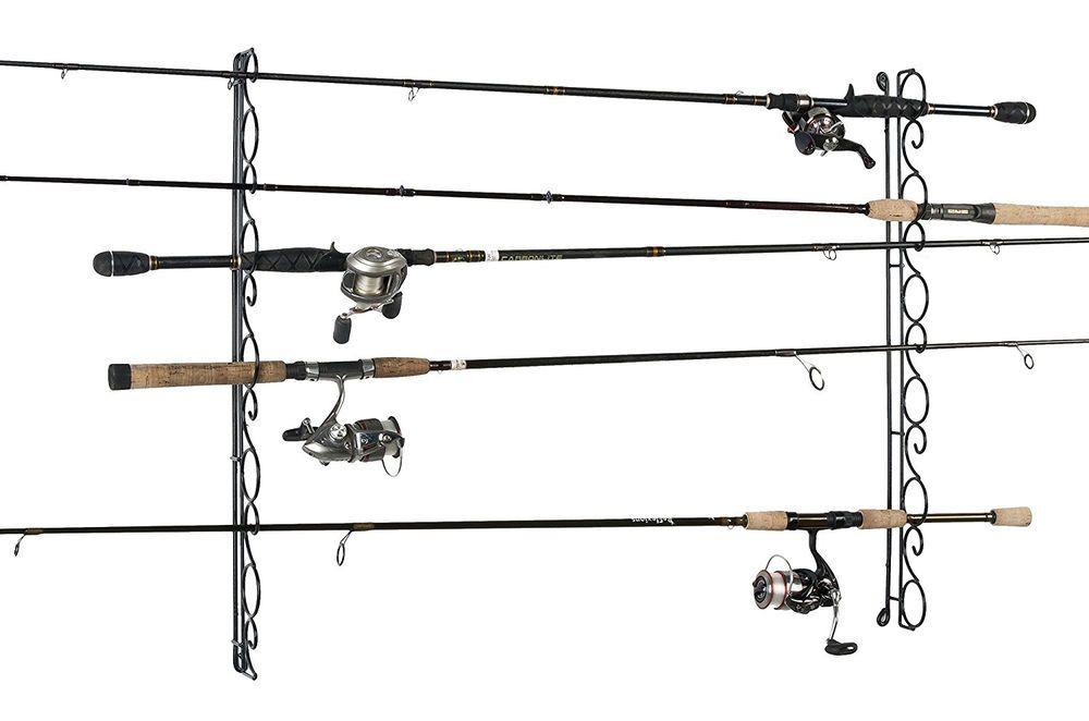 Horizontal Fishing Rod Rack Ceiling Wall Mount Pole Reel Holder ...