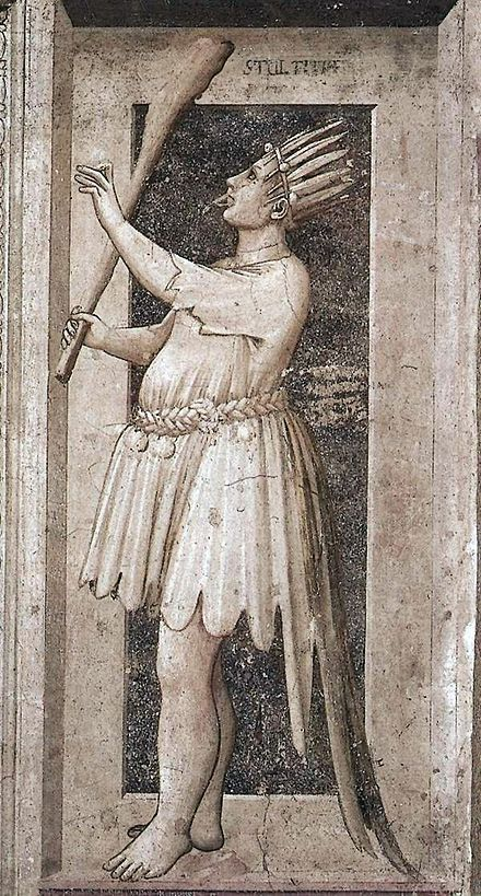 From Giotto's allegory of the fool/ Folly. Image bears resemblance in body and dress to the fool in the tarot.