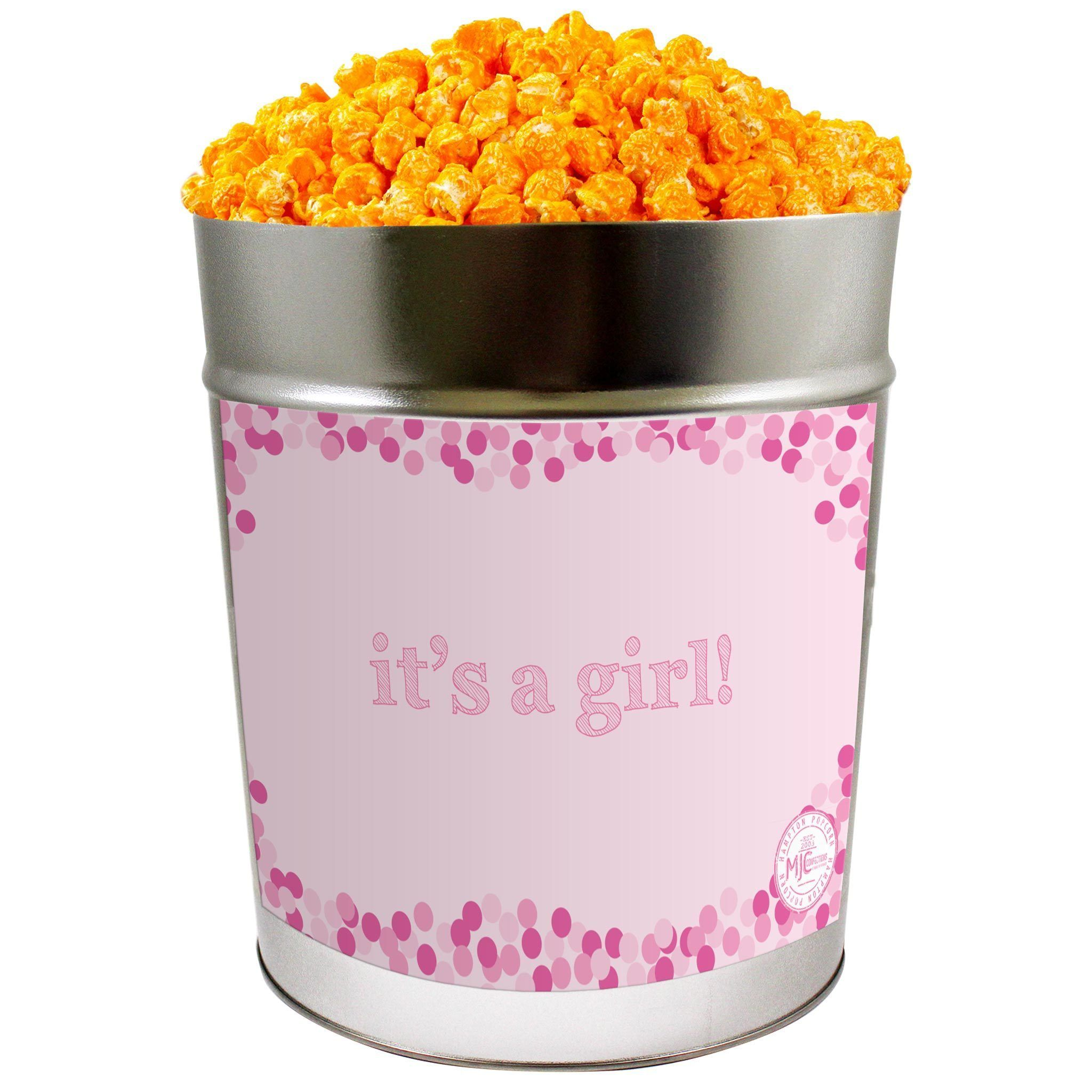 Photo of Orange Cheddar Cheese Popcorn: It's A Girl – 3.5 Gallon