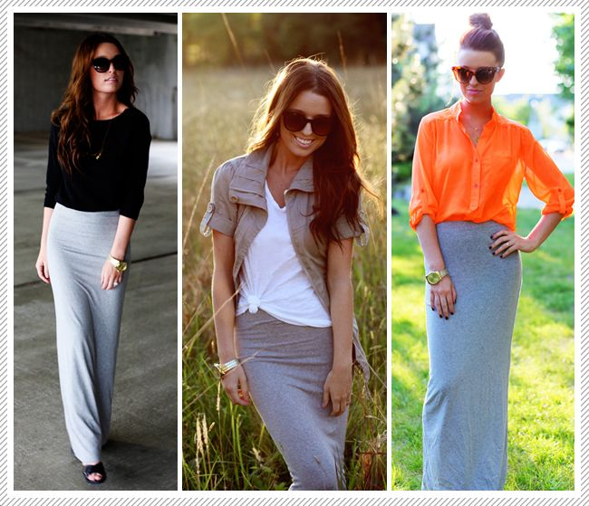 Como combinar una maxi falda gris de distintas maneras