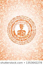 Photo of graduated icon inside abstract orange mosaic emblem #academic, #academy, #achiev…