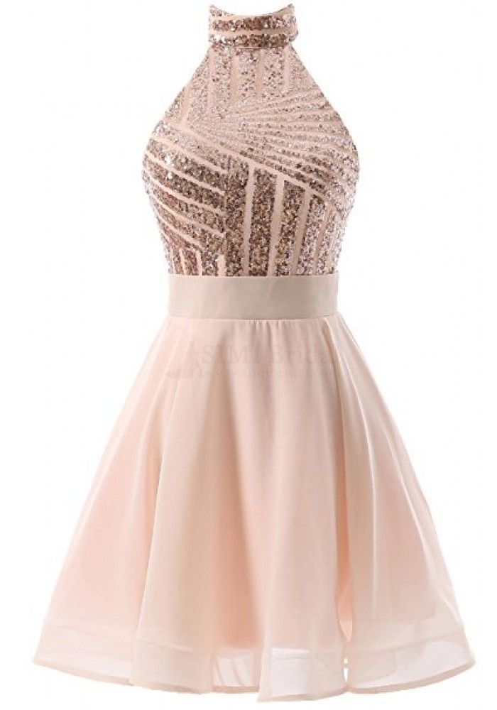 Halter Sequins Backless Short Mini Homecoming Dresses Party Dresses ...