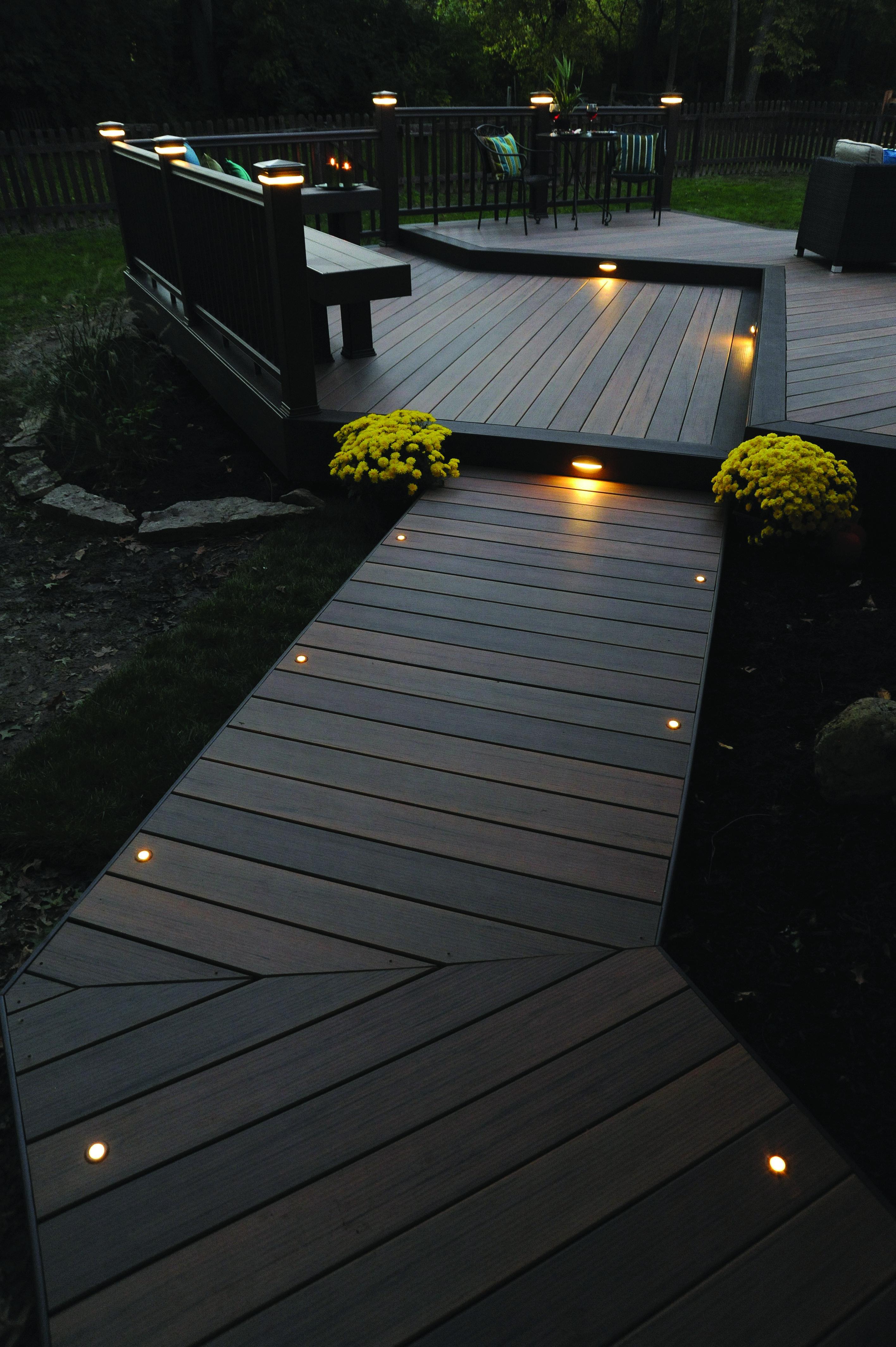 Gartengestaltung Licht Lampen Weg Holzsteg Terrasse Beleuchtung Led Landschaftsbeleuchtung Gartengestaltung Und Hinterhof