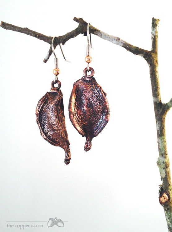 Copper Electroformed REAL Cotton Pods by copperacorns on Etsy