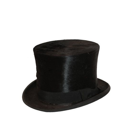 1920s Mens Top Hat, Black Beaver by Benton
