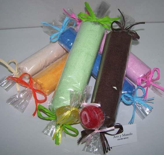toalla forma caramelo con caramelo jabn