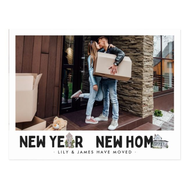 New Year New Home | Photo Change of Address Postcard ...