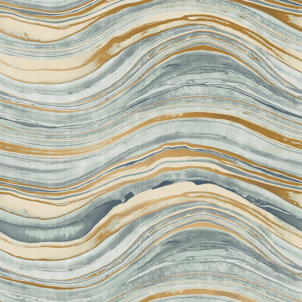 Tempaper Travertine Aquamarine And Gold Self Adhesive Removable Wallpaper Tr520 The Home Depot Gold Removable Wallpaper Travertine Peelable Wallpaper
