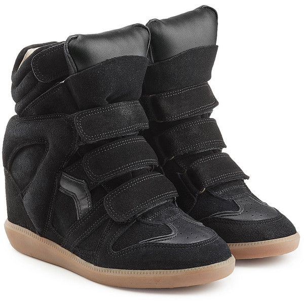 3261b65288ca Isabel Marant Etoile Suede and Leather Bekett High-Top Wedge Sneakers  ( 510) ❤ liked on Polyvore featuring shoes