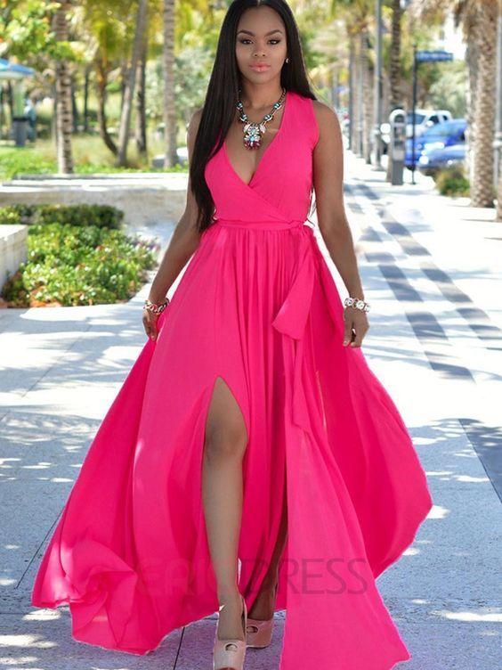 9a87994064 Ericdress Flowy Chiffon Deep V-Neck Split Maxi Dress   Could be ...