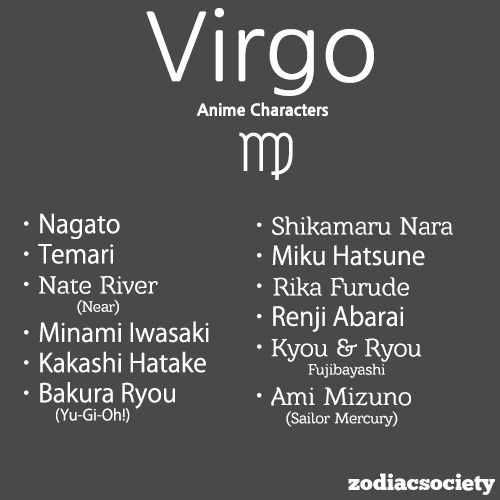 Anime Characters Zodiac Signs : Virgo anime characters` zodiac facts talks