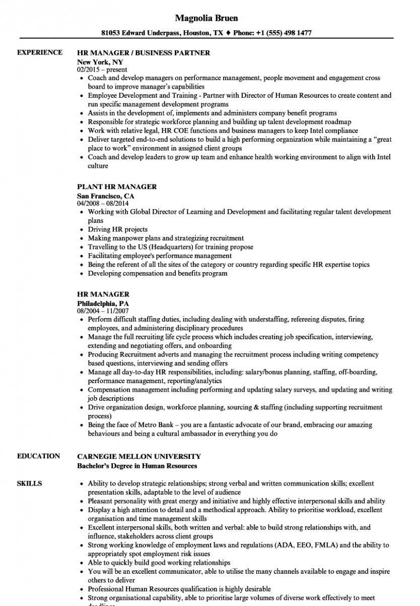 10 Seasoned Hr Skilled Resume Manager Resume Hr Resume Resume Examples