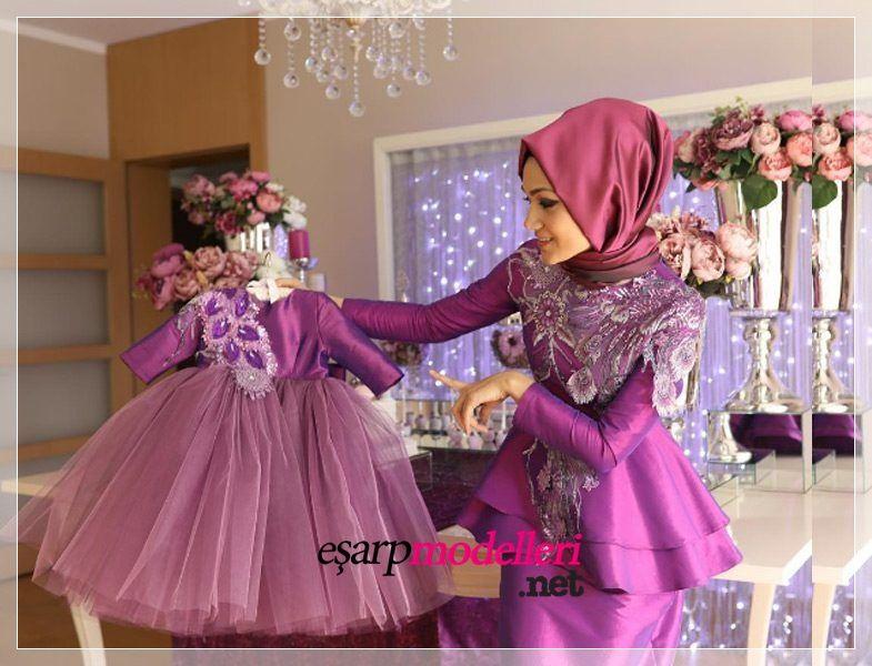 Anne Kiz Mor Tesettur Abiye Mom Dress Kids Dress Dresses