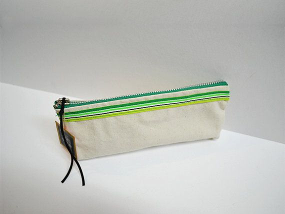 Canvas I Handmade Pouch I Green Stripes l Lime l Neon