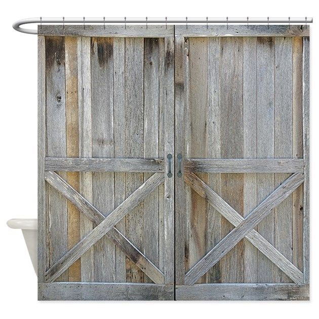 Old Rustic Barn Door Shower Curtain By Rebeccakorpita Cafepress Barn Door Shower Curtain Rustic Shower Curtains Rustic Barn Door