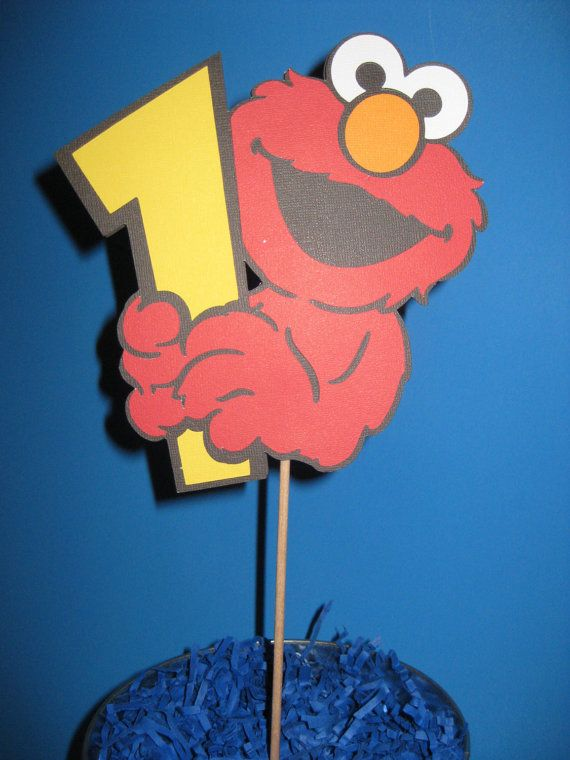 Sesame Street Elmo 1st Birthday Table Centerpiece Cake Topper