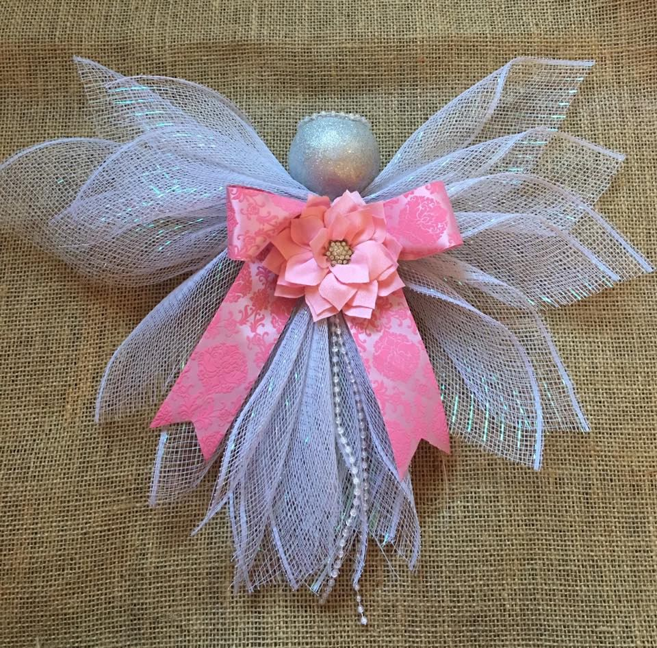 White glitter mesh angel ornament or tree topper by simplyglowing on ...
