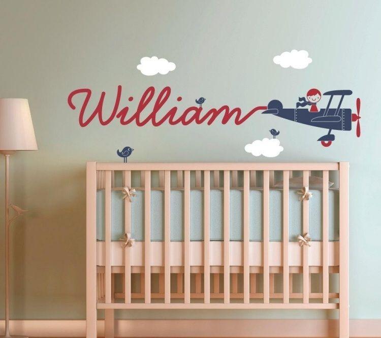 Wandtattoo Babyzimmer Namen Flugzeug Rauch Himmel Wolken Babybett.