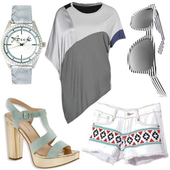 Style en gris y plata. Con mini pantalones en estampado étnico