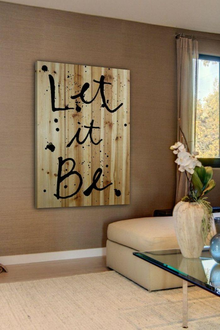 Wandgestaltung Ideen Wohnideen Wohnzimmer Wanddeko Botschaften Beige Akzente