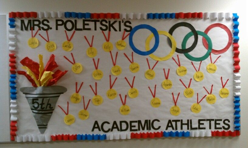 Bulletin Board Ideas For The Olympics Welcome Back To School Bulletinboards Bul Olympic Theme Classroom Themes