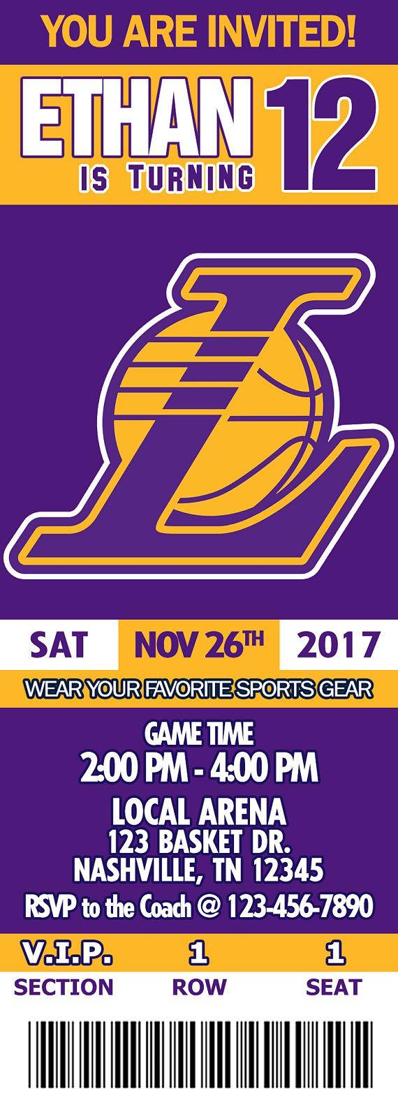 Basketball Los Angeles Lakers Invitation Tickets Digital Ticket Invitation Invitations Birthday Invitations