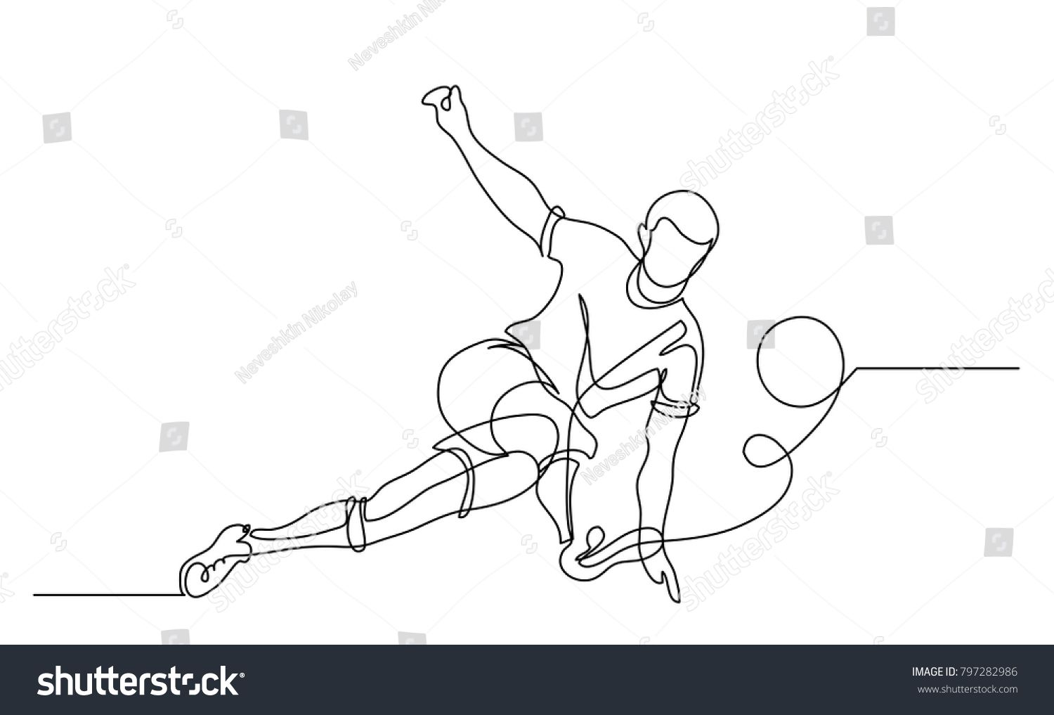 Continuous Line Drawing Illustration Shows A Football Player Kicks The Ball Soccer Vector Illustr Continuous Line Drawing Line Drawing Drawing Illustrations