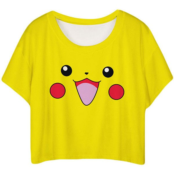f0371370406cf Yellow Lovely Pikachu Printed Ladies T-shirt ( 10) ❤ liked on Polyvore  featuring tops