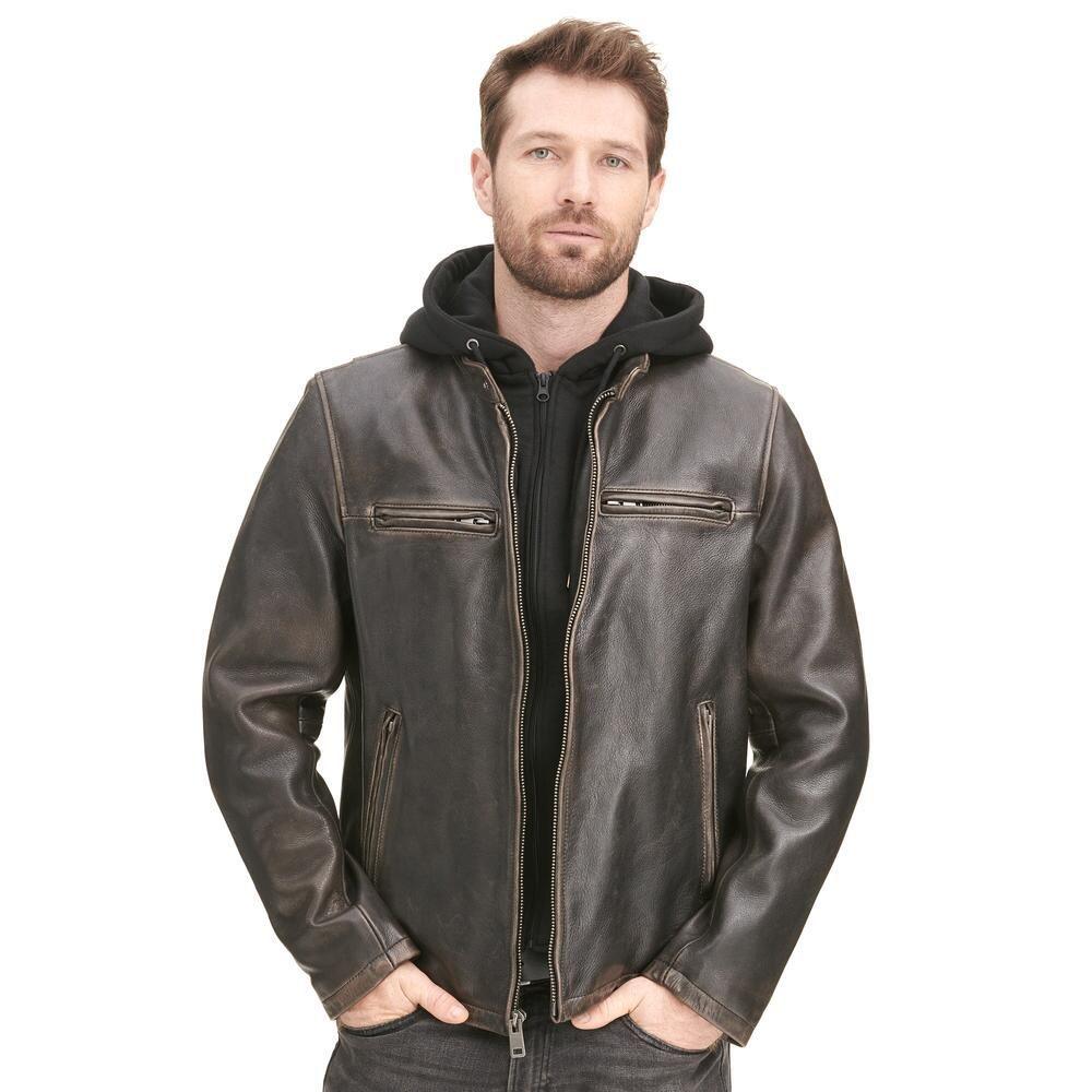 Wilsons Leather Vintage Moto Leather Jacket W Hood Hooded Men Wilsons Leather Leather Jacket With Hood Leather Jacket Leather Jacket Men [ 1000 x 1000 Pixel ]