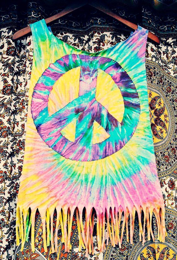 e577e08e470 Discover ideas about Peace Love Happiness. neon fringed tie-dyed racerback  tank top with peace sign ...