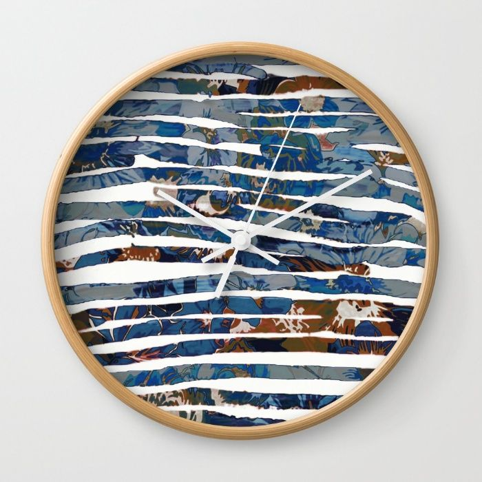floral cut into stripes Wall Clock