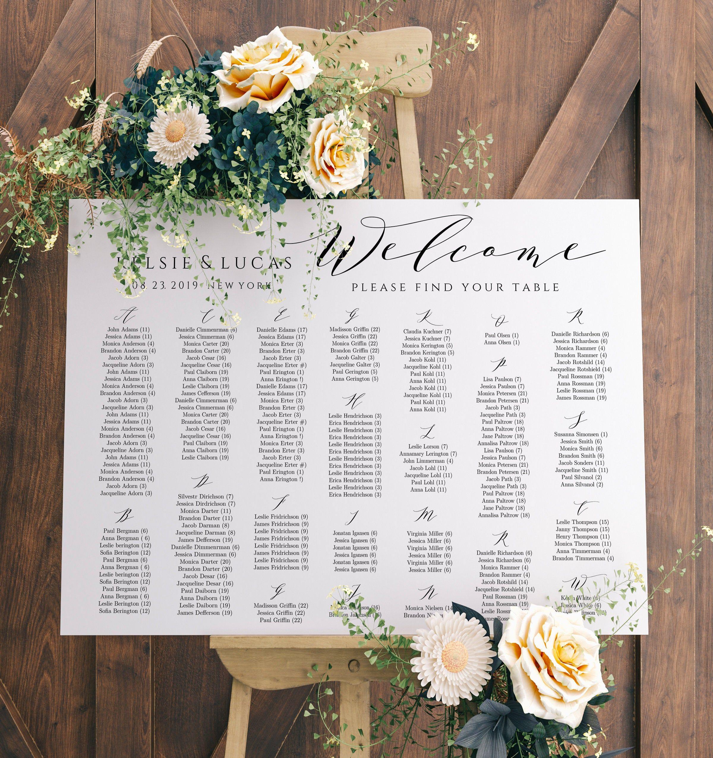 Alphabetical Seating Chart Sign Template Editable Wedding