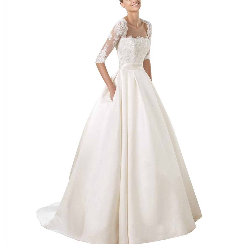 GEORGE BRIDE Brautkleid 1 2 Spitzenaermel Taschen Satin Rock