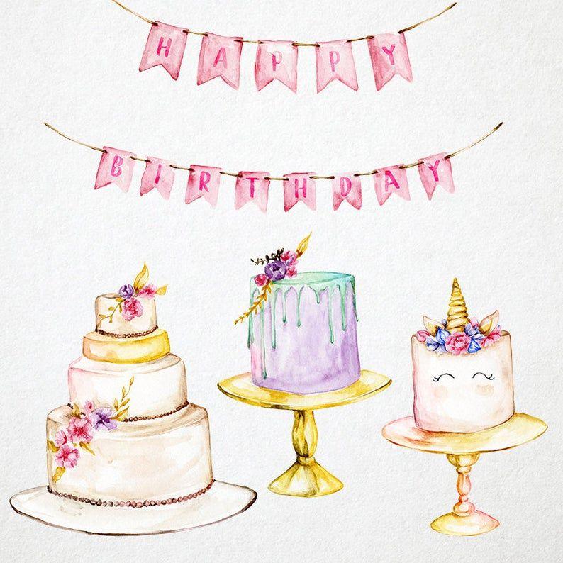 Cake Clipart Watercolor Cakes Clip Art Birthday Clipart Wedding
