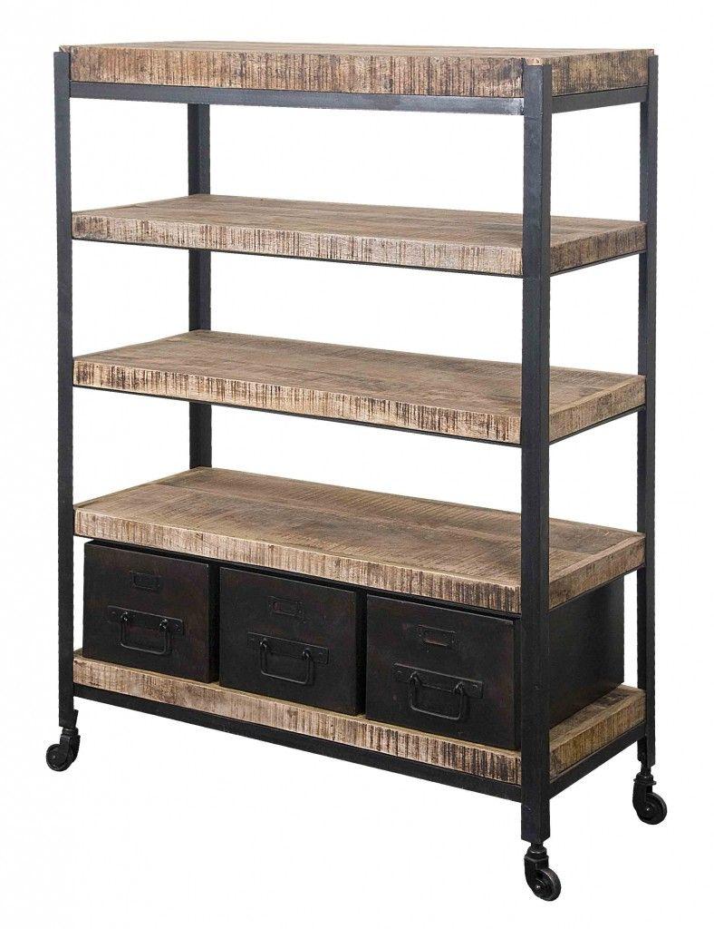 Iron and wood furniture - Five Shelf Mango Wood And Iron Bookshelf With 3 Metal Drawers Passport Furnishings Five