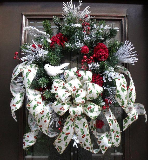 Snow Bird Winter Wreath Christmas Wreaths Holly by LuxeWreaths