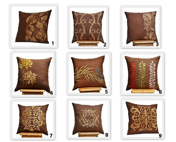 Gold Flower Decorative Throw Pillow Cover Made From Russet Brown Color Linen Embroidered With Yellow Gold Flowers Th Brown Pillow Covers Brown Pillows Pillows Brown and gold throw pillows